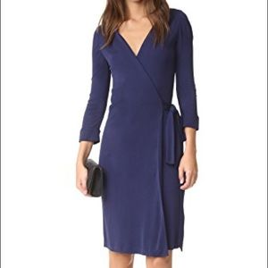 DVF dark navy wrap dress